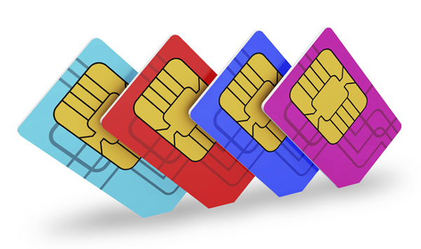 Multi colored SIM cards